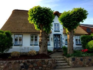 Foto zeigt das Ferienhaus Reetkate Oldersbek im Sommer